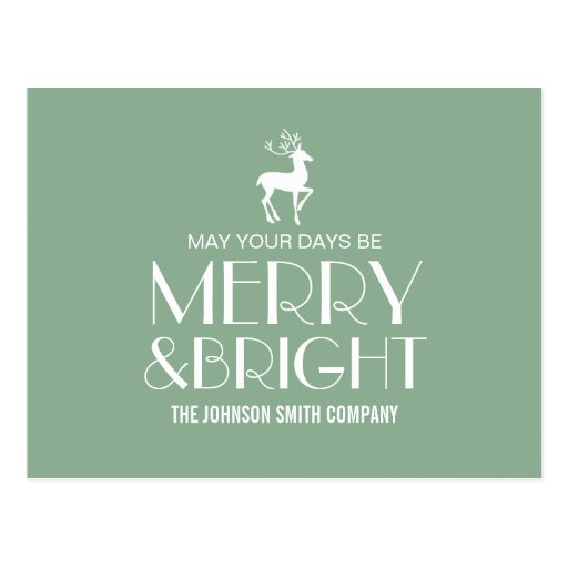 Mint Reindeer Christmas Business Post Cards