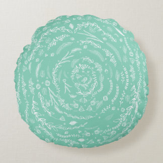 MINT Reversible to Lighter Floral Garland Pattern Round Pillow