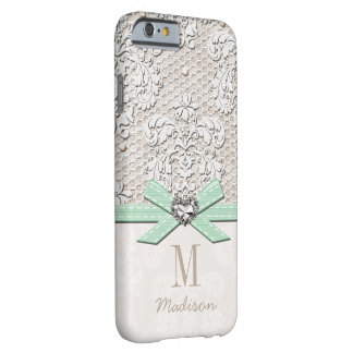 Mint Rhinestone Look Printed Lace and Bow Heart Barely There iPhone 6 Case