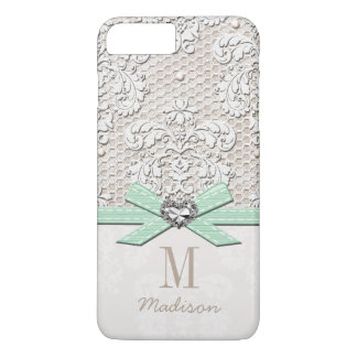 Mint Rhinestone Look Printed Lace and Bow Heart iPhone 7 Plus Case