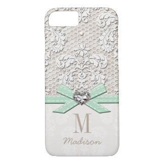 Mint Rhinestone Look Printed Lace and Bow Heart iPhone 8/7 Case