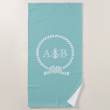Beach Themed Mint Rope and Anchor Monogrammed Beach Towel