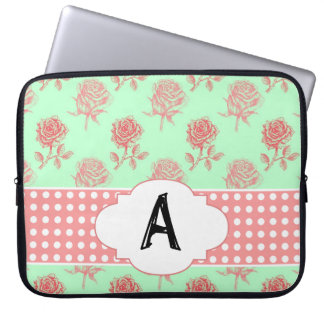 Mint Roses Computer Sleeve