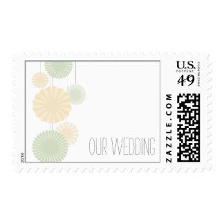 Mint Rosettes Wedding Stamp