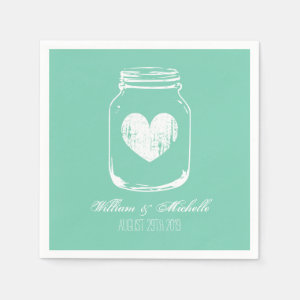 Mint rustic country chic mason jar wedding napkins
