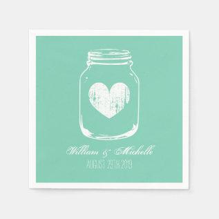 Mint Rustic Country Chic Mason Jar Wedding Napkins at Zazzle