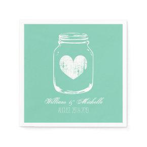 Mint rustic country chic mason jar wedding napkins standard cocktail napkin