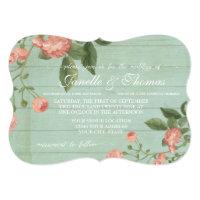 Mint Rustic Elegant Wood Pretty Peach Blush Roses Invitation