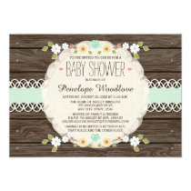 MINT RUSTIC FLORAL BOHO BABY SHOWER INVITATIONS