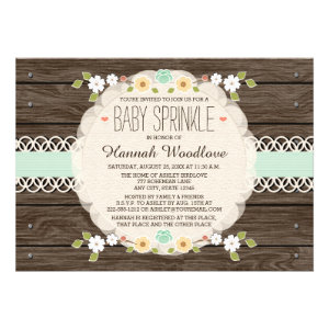 MINT RUSTIC FLORAL BOHO BABY SPRINKLE INVITATION CUSTOM INVITES