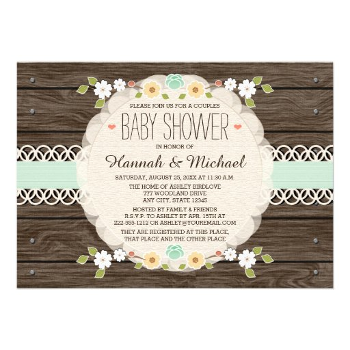 MINT RUSTIC FLORAL BOHO COUPLES BABY SHOWER INVITE CARDS
