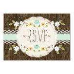 MINT RUSTIC FLORAL BOHO WEDDING RSVP CARD INVITES