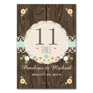 MINT RUSTIC FLORAL BOHO WEDDING TABLE NUMBER CARDS