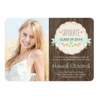 MINT Rustic Floral Graduation Photo Announcement