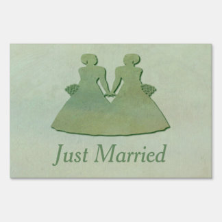 Mint Rustic Just Married Yard Sign: Lesbian Brides Lawn Sign