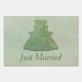 Mint Rustic Just Married Yard Sign: Lesbian Brides Yard Sign