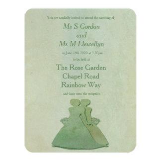 Mint Rustic Lesbian Brides Wedding Invitation
