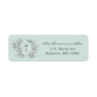 Mint Rustic Monogram Wreath Return Address Label