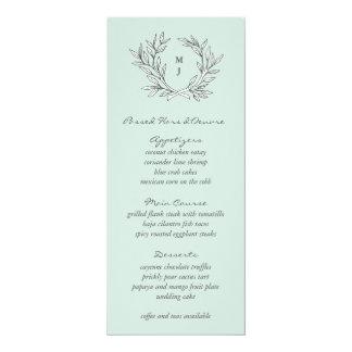 Mint Rustic Monogram Wreath Weddin Reception Menu Card