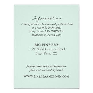 Mint Rustic Monogram Wreath Wedding Info Card
