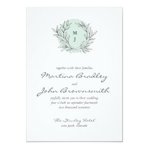 Mint Rustic Monogram Wreath Wedding Invitation 5