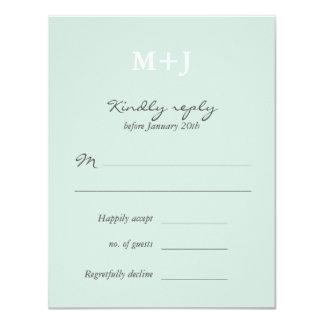 Mint Rustic Monogram Wreath Wedding RSVP reply Card
