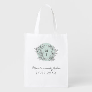 Mint Rustic Monogram Wreath Wedding Thank You Bag Market Tote