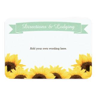 MINT RUSTIC SUNFLOWER ENCLOSURE INSERT 3.5X5 PAPER INVITATION CARD