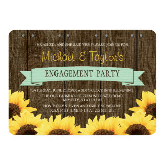 MINT RUSTIC SUNFLOWER ENGAGEMENT PARTY 5X7 PAPER INVITATION CARD