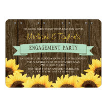 MINT RUSTIC SUNFLOWER ENGAGEMENT PARTY CARD