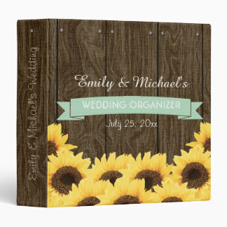 MINT RUSTIC SUNFLOWER WEDDING ORGANIZER 3 RING BINDER