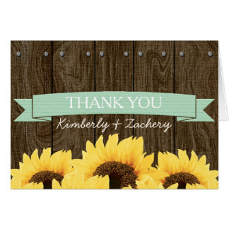 MINT RUSTIC SUNFLOWER WEDDING THANK YOU CARD