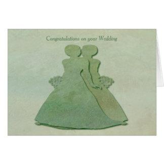 Mint Rustic Wedding Congrats Card Lesbian Brides
