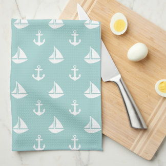 Mint Sailboats and Anchors Pattern Hand Towels