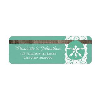 Mint Sand Dollar And Burlap Lace Wedding Label