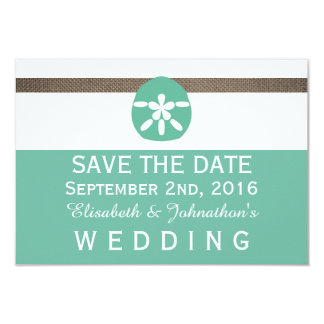 Mint Sand Dollar And Burlap Wedding Save The Date Card
