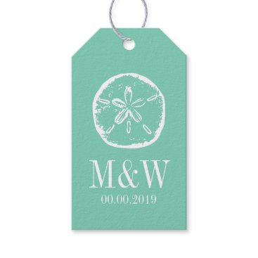 Beach Themed Mint sand dollar beach wedding favor gift tags