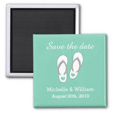 Beach Themed Mint Save the date beach slipper wedding magnets