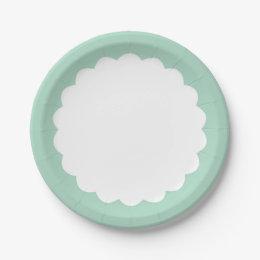 Mint Scallop - Personalizable Paper Plate  sc 1 st  Zazzle & Light Pastel Mint Green Plates   Zazzle