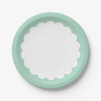 Mint Scallop - Personalizable Paper Plate