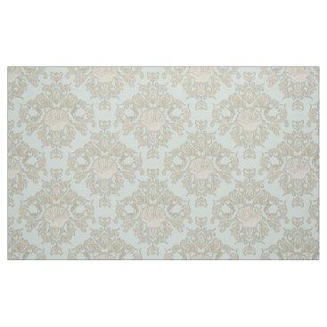 Beach Themed Mint Scallop Shell Leaf Scroll Damask Ocean Beach Fabric