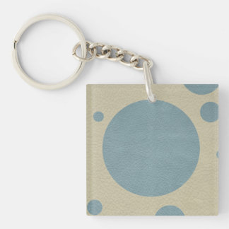 Mint Scattered Spots on Stone Leather Texture Keychain