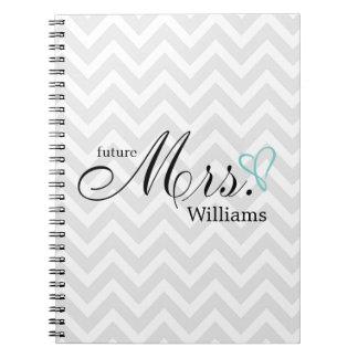 Mint Scribbled Heart Future Mrs Wedding Spiral Notebook