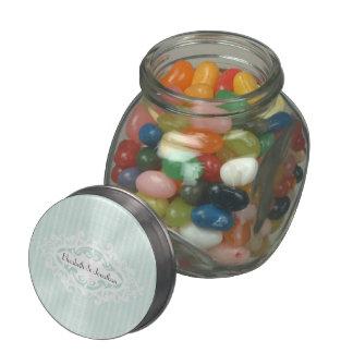 Mint Scrolls and Ribbons Wedding Glass Jars