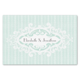 Mint Scrolls and Ribbons Wedding Tissue Paper
