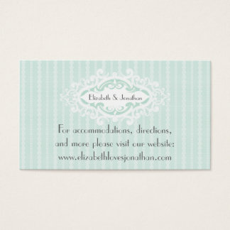 Mint Scrolls and Ribbons Wedding Website Business Card