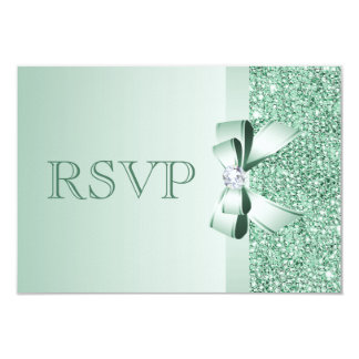 Mint Sequins, Bow & Diamond RSVP Wedding 3.5x5 Paper Invitation Card