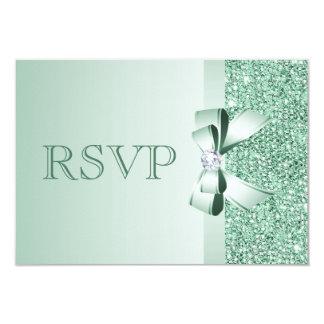 Mint Sequins, Bow & Diamond RSVP Wedding 3.5x5 Paper Invitation Card