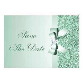 Mint Sequins, Bow & Diamond Save the Date Wedding Card