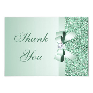 Mint Sequins, Bow & Diamond Thank You Wedding Card